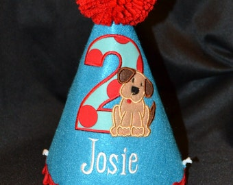 Puppy Dog Boy 1st Birthday Birthday Party Hat With Hand made pom pom top or have me custom make a hat to match your party theme