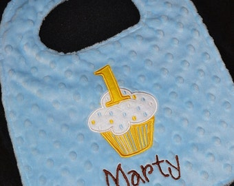 Cupcake Birthday Bib-- First Birthday 1st Birthday   Can be plain or embroidered with a name. Your Choice- Same Price