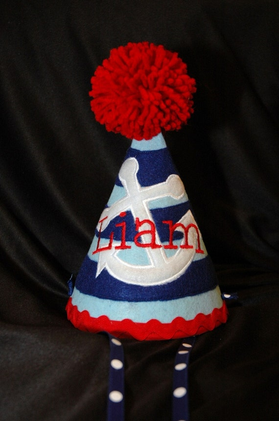 Stylish Birthday Party Hat  Preppy- Nautical - Sailor -Anchor- Navy- Party theme- Customized with NAME