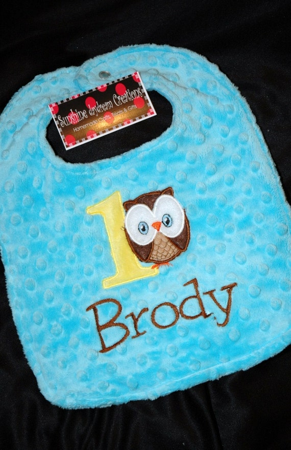 Owl Birthday  turning ONE  Boy Birthday Bib-- Can be plain or embroidered with a name. Your Choice- Same Price