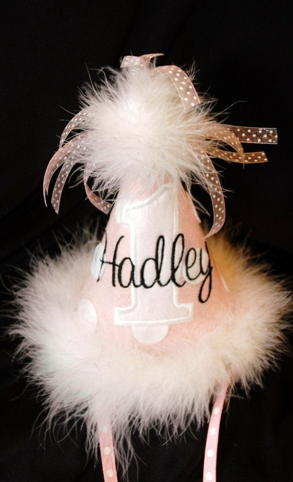 Princess 1st Birthday Party Hat Light Pink-Black-and White-- With Maribou Trim or have me custom make a hat to match your party theme
