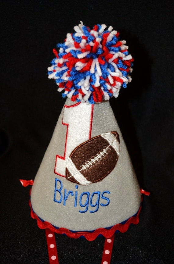 Football 1st First Birthday Party Hat Red White and Blue
