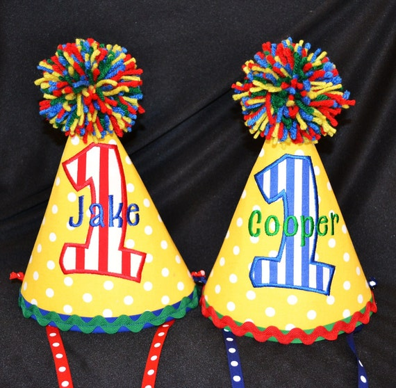 1st Birthday Party Hat Customized For Twins With NAME And