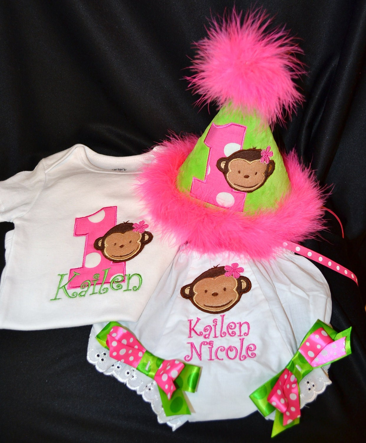 Mod Monkey Girl 1st First Birthday Hat Onsie Or Shirt Diaper