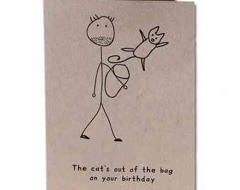 Birthday Humor Greeting Card Cat's Out of the Bag