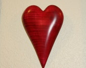 Carved Wood Heart in Red Curly Maple