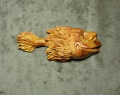 Christmas Gift Wood Carving Whimsical Fish Art for Dad on etsy, Log Cabin Decor, carved by Gary Burns the Treewiz, handmade woodworking