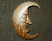 Wood Carving, Man in the Moon, gift for Wedding, log cabin decor, whimsical art, carved by Gary Burns the treewiz, handmade, woodworking