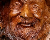 Wood Anniversary, Wood Spirit, Wedding Gift, Face, Elf, Wizard, Father's day gift, carved by Gary Burns, wiz, treewiz, handmade, woodworking