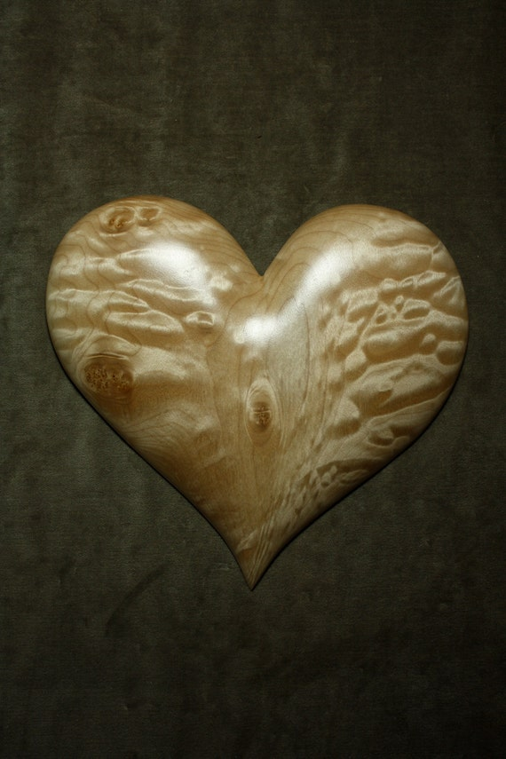 Ooak, Heart, Christmas present, wood carving, carved by Gary Burns the Wiz, handmade woodworking