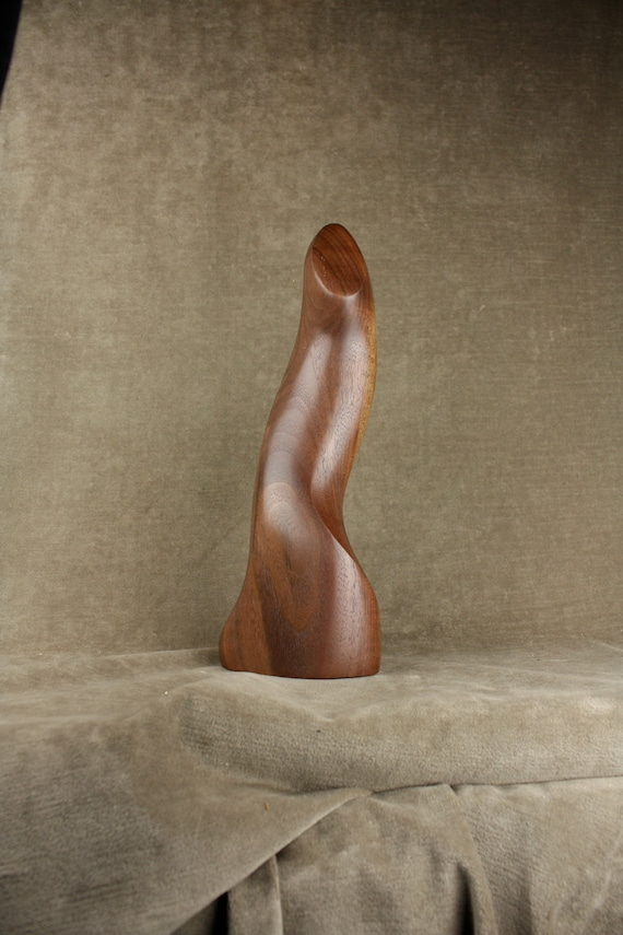 An Abstract Modern Wood Carving, A Carved Wood One of a Kind art wood sculpture by Gary Burns the Treewiz, Handmade