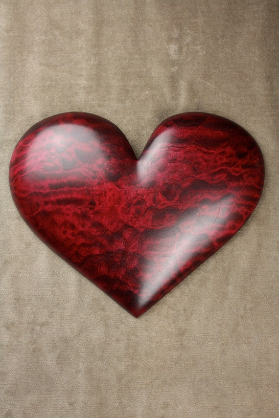 Heart personalized red wood carving wedding anniversary