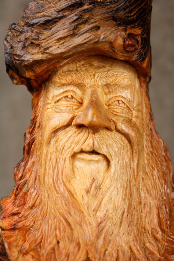 Wood Spirit, Wood carving, a great Christmas present, carved by Gary Burns the treewiz, handmade woodworking