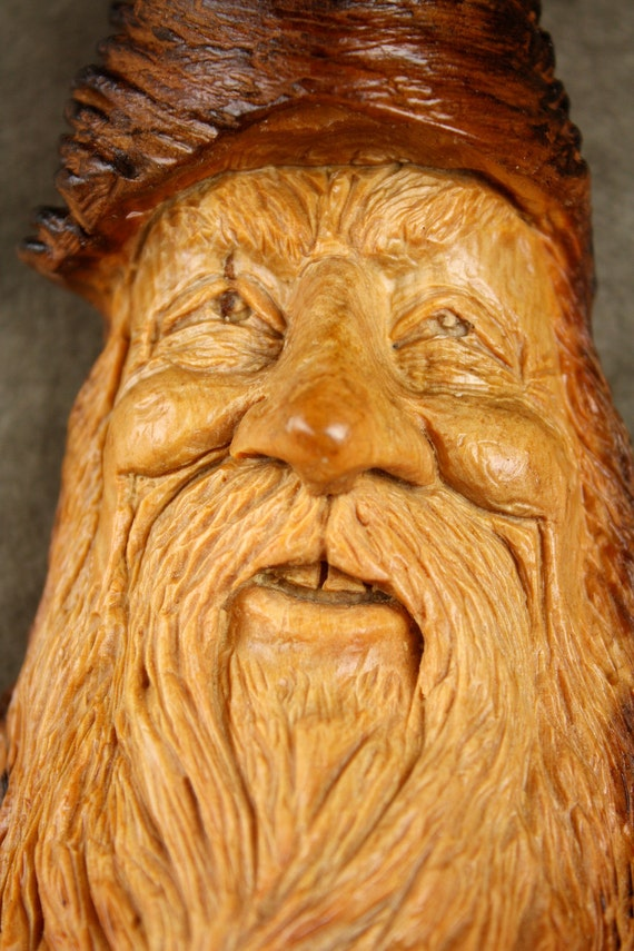 Wood carving, Wood Spirit, log cabin decor, Gift for Dad, Whimsical Art, Wiz, carved by Gary Burns the treewiz, handmade, woodworking