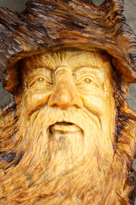 Wood Carving Wood Spirit Elf Wizard on etsy carved by Gary Burns the Treewiz, also known as Wiz, Handmade,  woodworking