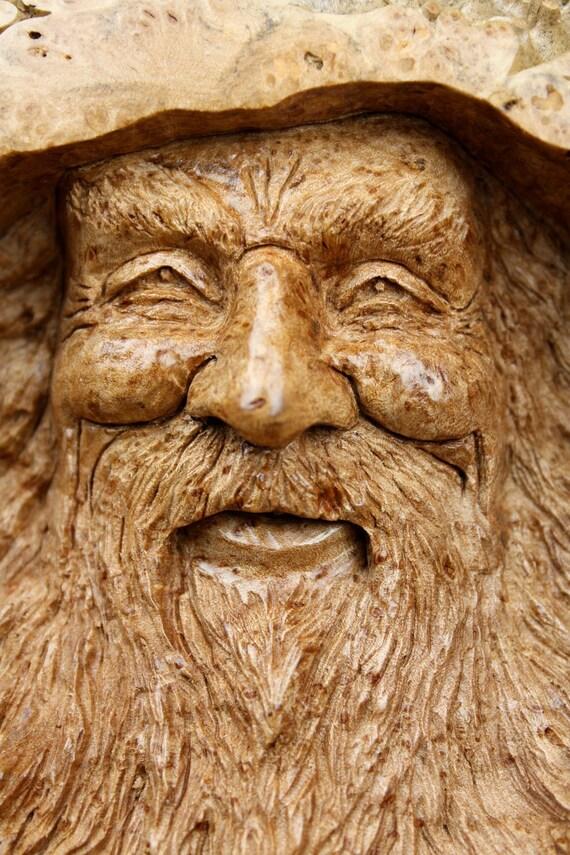 Wood spirit carvings wedding gift for dad rustic