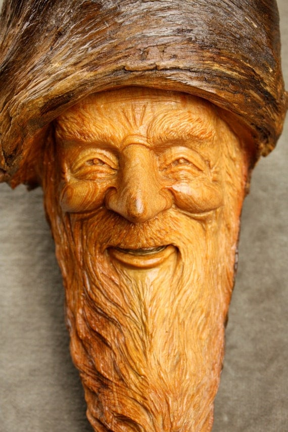 Wood Spirit Wood Carving Elf Wizard on Etsy carved by Gary Burns the Treewiz also known as Wiz, Handmade, woodworking