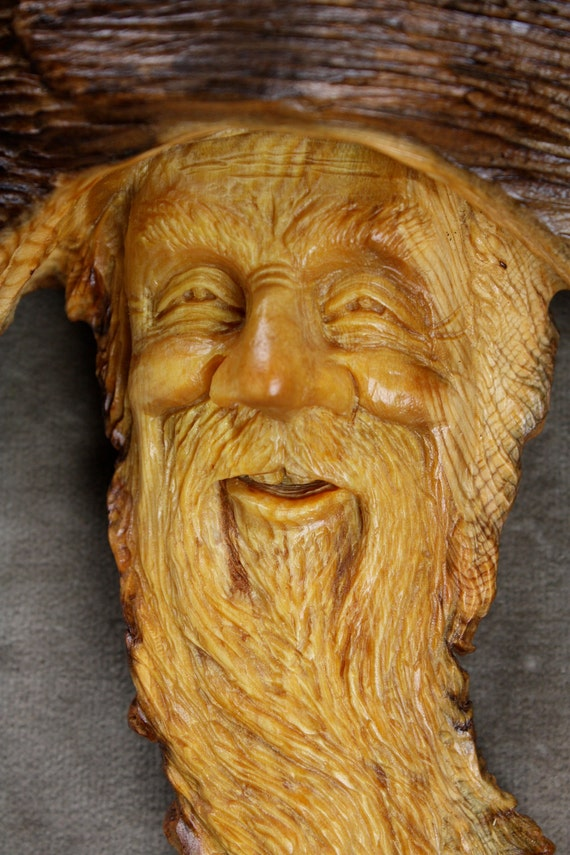Wood Spirit Wood Carving Sculpture, Mothers Day Gift, Log Cabin Decor Gift for Him on Etsy by Gary Burns the Treewiz, Handmade in Oregon
