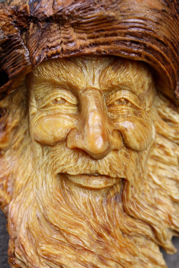 Wood Spirit, Wood Anniversary Gift, Father's day gift, fantasy, happy face, Graduation Gift, by Gary Burns, wiz, treewiz, handmade, woodwork