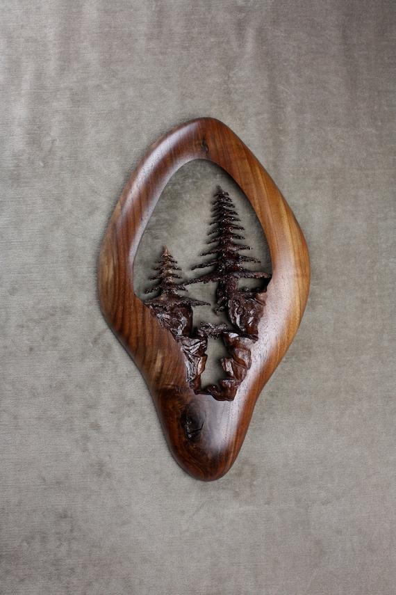 Ooak, Wood Carving, Carved Wood Tree, Graduation gift, Father's Day Gift, Wood Anniversary, Gary Burns, Wiz, treewiz, handmade, woodworking