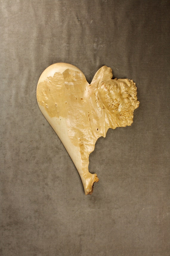 Personalized Wood Carving of an Abstract Heart carved in Burl Wood, by Gary Burns the Treewiz, Woodworking