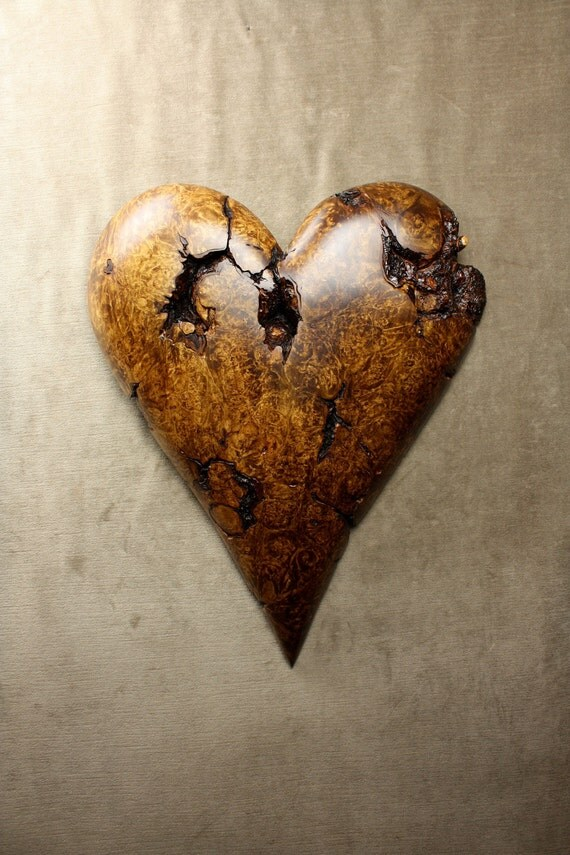 Personalized Handmade Wood Carving of a Brown Heart carved by Gary Burns the treewiz, woodworking