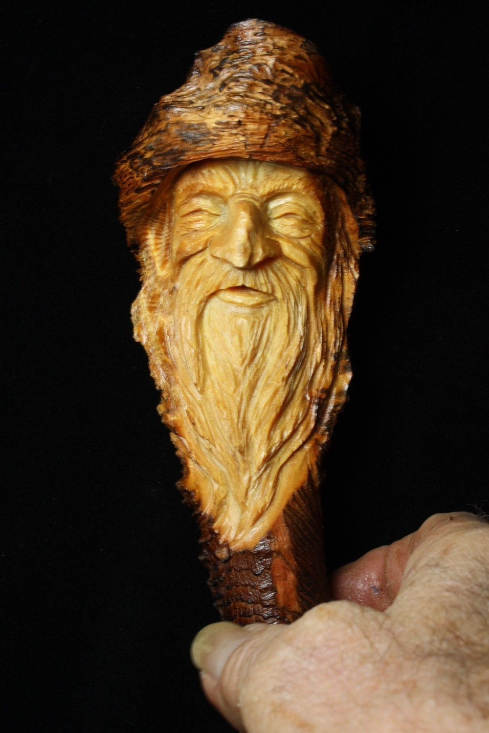 Wood spirit jewels the elf wizard carved in a pine knot