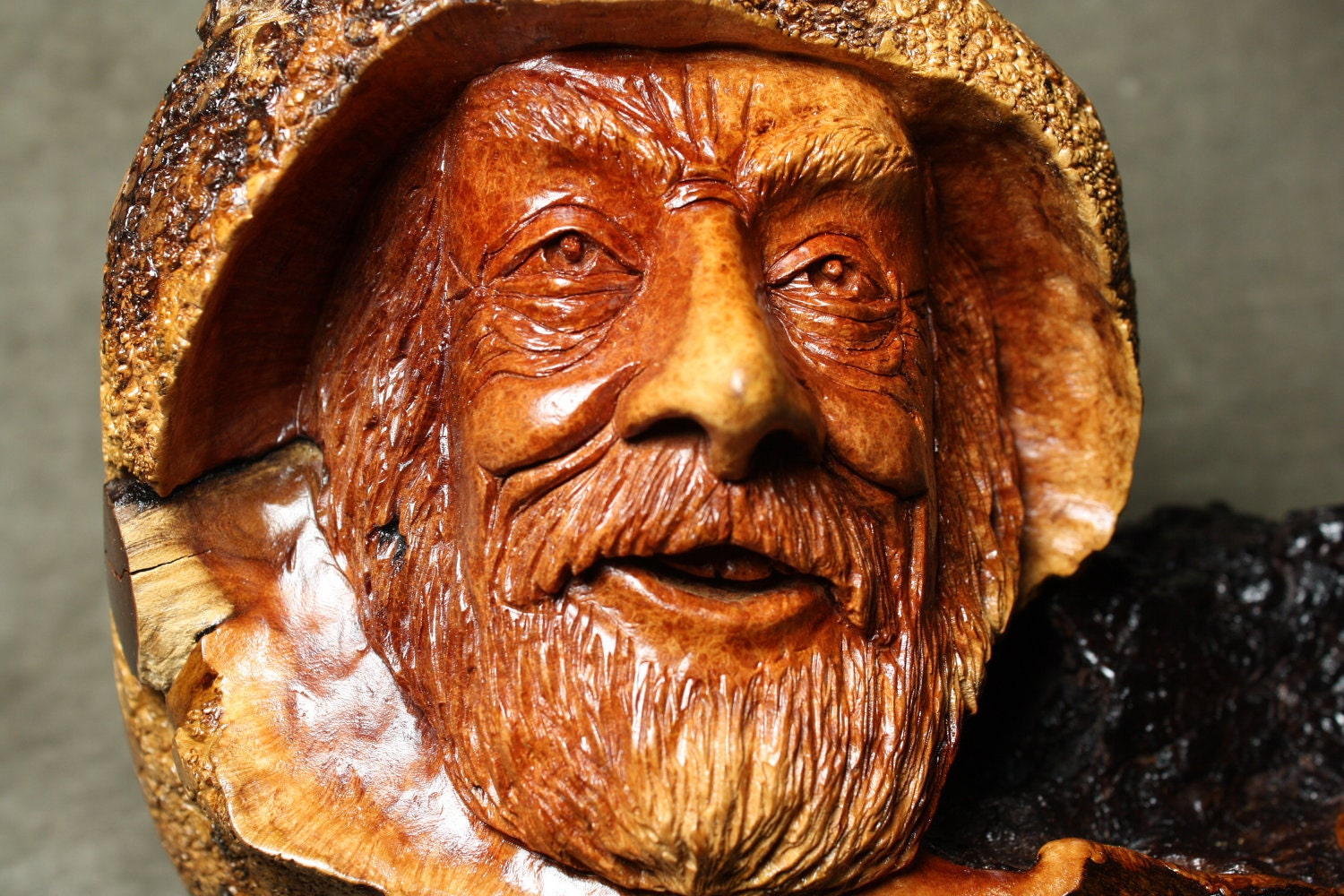 Mountain man wood carving carved by gary wiz burns
