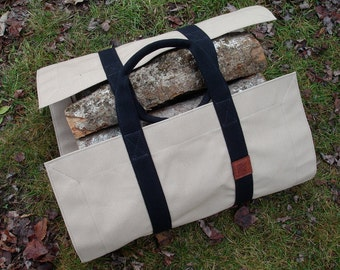Firewood Carrier, Canvas - Firewood Tote - Firewood Bag - Wood Carrier - Wood Bag -  Wood Tote - Camp Firewood Tote  -  Gift for Men