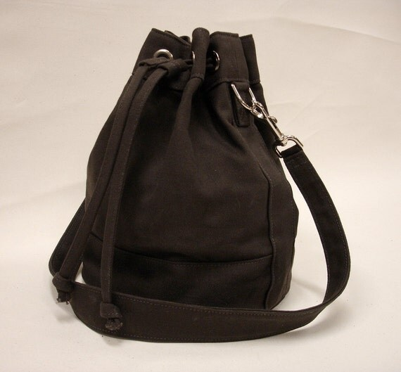 Espresso Brown Canvas Bucket Bag