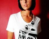 Spray Can Photo Screenprint Black on White T Shirt Women's S