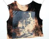 OOAK Astronaut Sleeveless Grunge Crop Top Nasa Buzz Aldrin T Shirt Grey on Bleached Black Oversize Loose Fit Women's Small or Medium