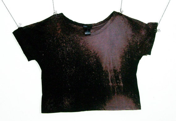 Grunge Crop Top Bleached out Black Drips Women's Loose Fit Oversize Small