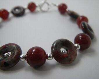SMOLDERING Jasper Bracelet, Red Agate Bracelet, Natural Stone Jewelry, Earthy Jewelry, Beaded Gemstone Bracelet, Toggle Clasp Bracelet