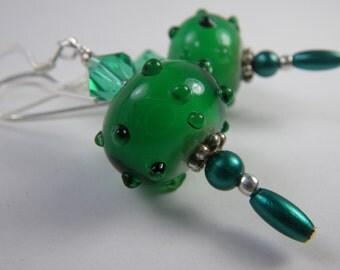 KEEN GREEN Lampwork Earrings, St. Patrick's Day Earrings, Irish Jewelry, Holiday Jewelry, Christmas Ornament Earrings, Green Earrings