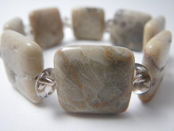 FOSSILIFEROUS Gemstone Bracelet - Stretch Bracelet - Natural Gemstone - Natural Jewelry - Gemstone Jewelry - Fossil Coral Beaded Bracelet