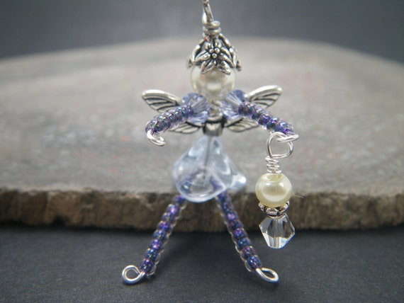 MICHAELA MagicK Good Luck Fairy Cell Phone Charm or Zipper Pull Purple/Violet/Lavender