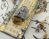 Buddha Amber Pendant/Pin, topaz, gold & silver beads, detachable pin, versatile necklace set by SandraDesigns