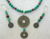 Chinese Replica Coins, Pearls & Malachite Beads, necklace set by SandraDesigns