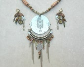 China Mod, handmade whimsical pendant & earrings, copper/brass/silver/tin, statement necklace set by SandraDesigns
