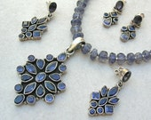 RESERVED Beautiful Semi-Precious Iolite Pendant, Iolite Beads & Clasp, and 1 Pair of Iolite Earrings, Investment Set by SandraDesigns