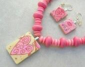SALE -  50% off, Bubble Gum Fun, Heart Rummikub Pendant, Scrabble Earrings, vintage bakelite beads, Valentine gift, set by SandraDesigns