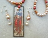 Geisha Beauties, Copper & Glass Pendant - Old Ukiyo-e Print, Freshwater Pearls, Long Necklace Set by SandraDesigns
