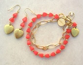 SALE - 50% off, Red & Gold Heart Bracelet and Earrings Set, Valentine gift, by SandraDesigns
