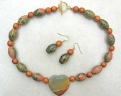 Southwest Landscape Heart, picasso jasper, unikite & wood beads, Valentine gift, necklace set by SandraDesigns