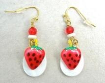 SUMMER Strawberries 'n' Cream Earrings by SandraDesigns