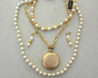Long Cultured Pearl Necklace, Removable Antique Gold-Filled Pocket Watch, Wear Separately, Versatile Investment Set, by SandraDesigns