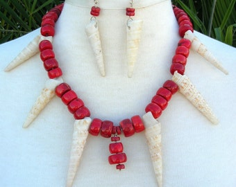 UNIQUE Auger Shells & Red Coral, Bold Sterling Silver Clasp, Sea Treasures Collection, Statement Necklace Set by SandraDesigns