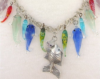 Antique Fish Necklace, Venetian Blown Glass Fish & Thai Silver Fish, Redesigned Sea Treasures Necklace by SandraDesigns
