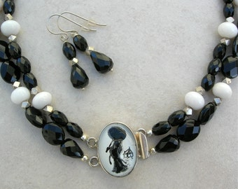 SALE - 50% off, Strolling Chinese Lady Porcelain Sterling Clasp, Onyx, Obsidian, Jade & Sterling Silver Beads, Necklace Set by SandraDesigns